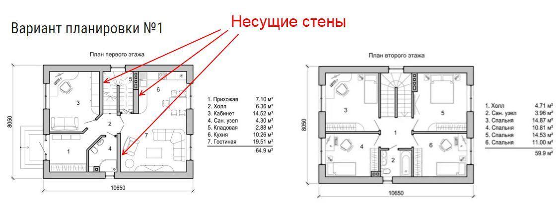 Описание: Планировки этажей двухэтажного дома