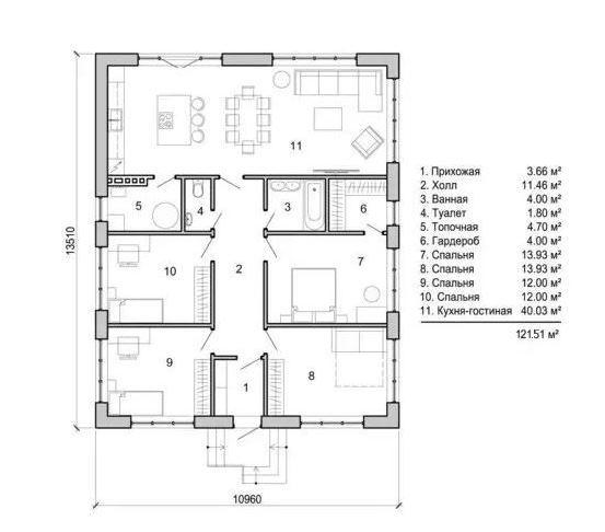 Описание: Планировка одноэтажного дома
